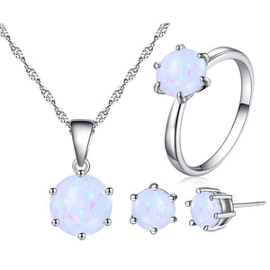 2019 Fashion Silver Color Necklace Earrings Ring Opal Jewelry Sets For Women Round Shape Pendant Chain Wedding Jewelry
