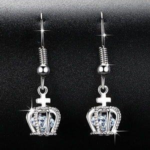 2019 New Design Crown Dangle Earrings for Women Brilliant AAA Cubic Zirconia Wedding Jewelry Ladies Gifts Free Shipping