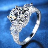2019 New Fashion 3 Stones Wedding Rings for Women AAA Cubic Zirconia Jewelry Women Accessories