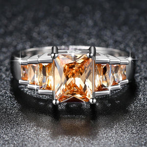 2019 New Fashion Champagne Princess cut AAA Cubic Zirconia Wedding Brand Rings for Women Silver Color Jewelry Best Gifts
