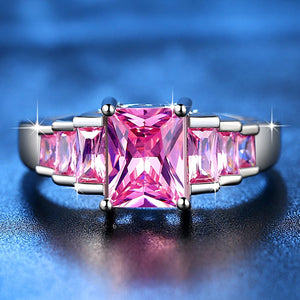 2019 New Fashion Pink Princess cut AAA Cubic Zirconia Wedding Brand Rings for Women Silver Color Jewelry Best Gifts