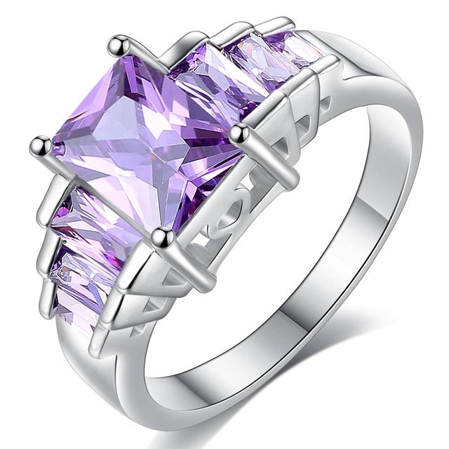 2019 New Fashion Purple Princess Cubic Zirconia  White Copper Rings for Women