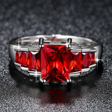 2019 New Fashion Red Princess cut AAA Cubic Zirconia Wedding Brand Rings for Women Silver Color Jewelry Best Gifts