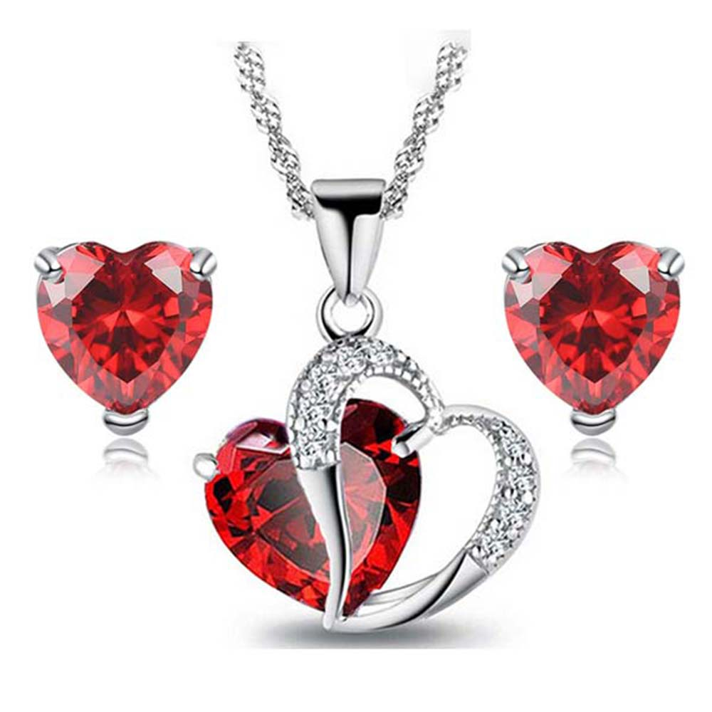 2019 New Heart CZ Jewelry Sets in Rhodium Plated Charm Bijoux Femme Ensemble Free Shipping