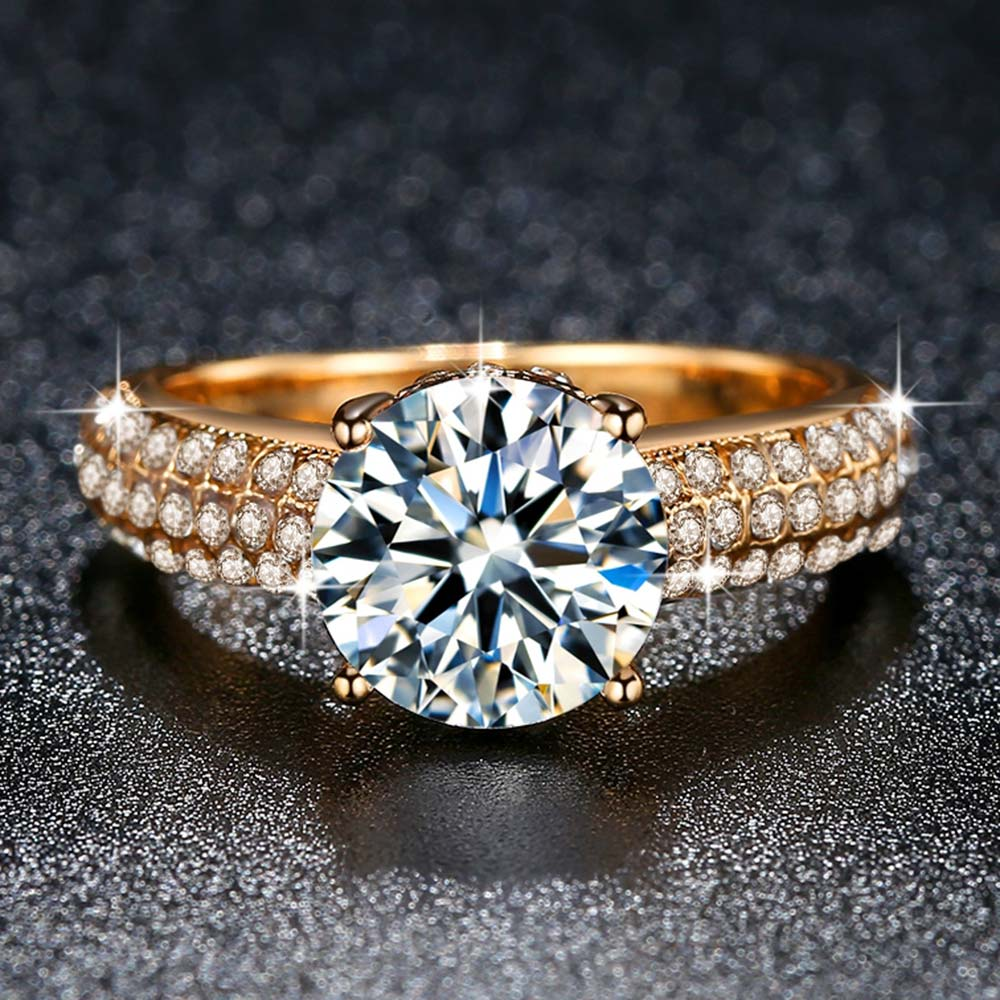 2019 New Arrivals Fashion Full with AAA Zircon Rings for Women White Gold / Yellow Gold Color Wedding Jewelry