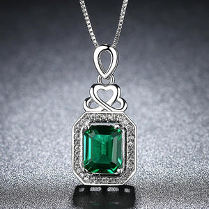 2019 New Arrivals Fashion Green AAA+ Cubic Zirconia Wedding Necklace for Women Exquisite White Gold Color Jewelry