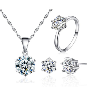 3 PCS Fashion Cubic Zirconia Stone Necklace + Earrings + Ring Wedding Jewelry Sets for Women in Rhodium Plated