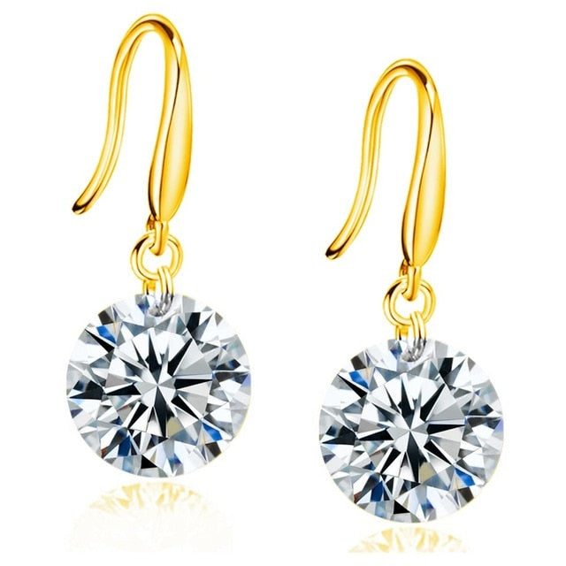 Fashion CZ Earrings for Women in Rhodium Plated AAA Cubic Zirconia Dangle Earrings Ladies Gifts