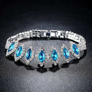 Acid Blue Crystal Charm Tennis Bracelet in Rhodium Plated Micro Pave AAA Cubic Zirconia Stone Jewelry