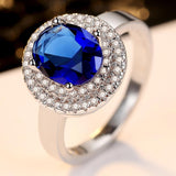 Blue Oval Cubic Zirconia Rings for Women in Rhodium Plated Best Gifts for Women Girl