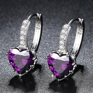 Brand Charm Simple Heart Crystal Stud Earrings Women Romantic Zircon Round Earrings Statement Accessories Pendientes