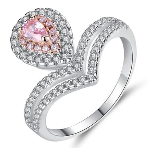 Heart Shape Crown Copper Ring with Cubic Zircon Inlay Fashion Jewelry for party