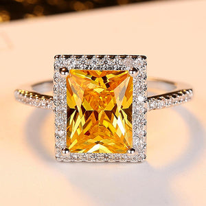 Champagne Cubic Zirconia Wedding White Gold Color Rings for Women 2019 New Fashion