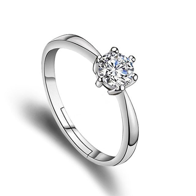 Classic Crystal CZ Stone Wedding Engagement Rings for Couples Rhodium Plated Adjustable Rings for Women Jewelry Rings