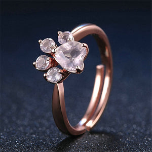 Cut Cat Dog Bear Paw Rose Gold Resizable Rings For Women Romantic Animal CZ Heart Wedding Rings