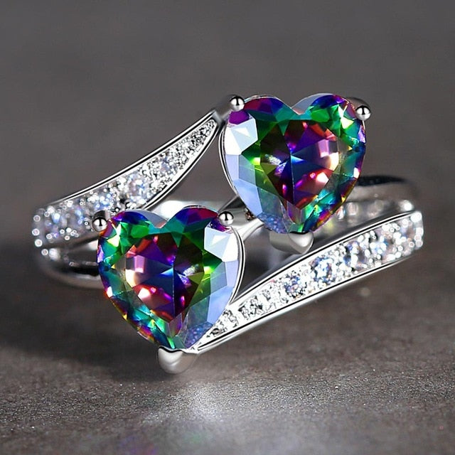 Double Heart Rainbow CZ Ring in Rhodium Plated Wedding Bands AAA Zircon Jewelry Women Accessories Engagement Ring