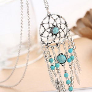 Dreamcatcher Necklace Long Chain Sweater Blue Beads Bohemia Tassels Wedding Necklace Jewelry
