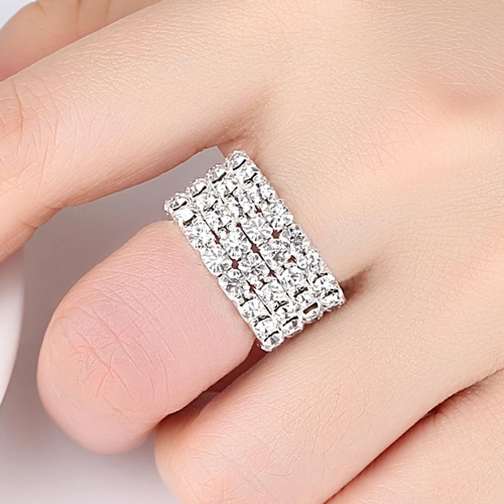 Engagement Stretch Rings for Women 1/2/3/4 Layers Zinc Alloy Jewelry 2018 New Fashion Free Shipping