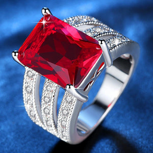 Exquisite Huge Red Stone Ring for Women Rhodium Plated Micro Pave Cubic Zirconia Ladies Party Jewelry