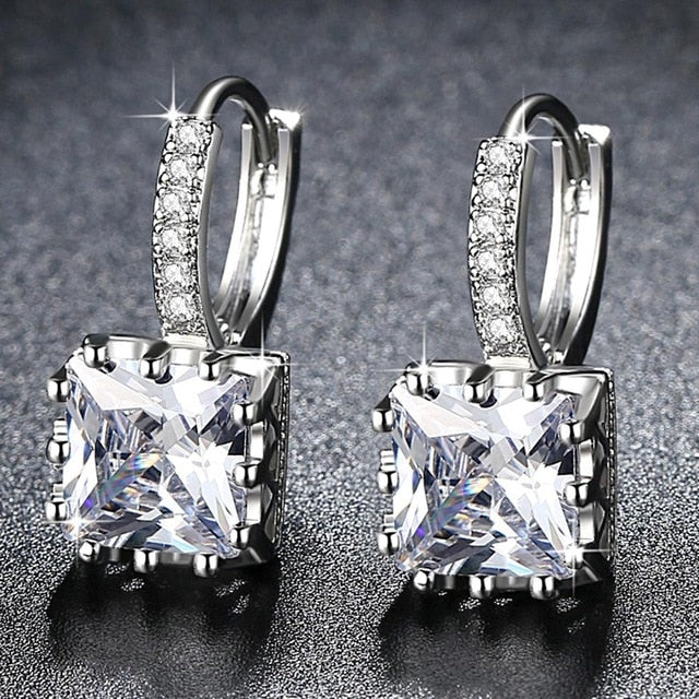 Exquisite Square CZ Earrings for Women Silver Color Jewelry 5 Colors Exquisite Cubic Zirconia Earrings Ladies Gifts