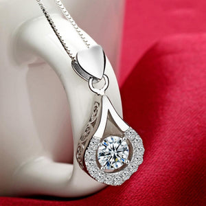 Exquisite White Gold Color Water Drop Necklace AAA Clear CZ Wedding Jewelry