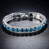 Fashion 4 Colors Crystal Tennis Bracelet for Women White Gold Color Wedding Bands Jewelry