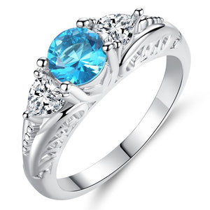 Fashion Acid Blue Round Zircon Rings for Women in Rhodium Plated Ladies Best Gifts Party Jewelry