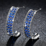 Fashion Blue Cubic Zirconia Earrings for Women Micro Pave AAA CZ Jewelry Wedding Femme Bijoux Free Shipping