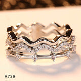 Fashion CZ Wedding Wave Rings for Women Mini Micro AAA Cubic Zirconia Femme Bijouxs Free Shipping