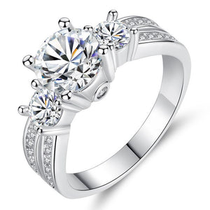 Fashion CZ X-Shape Rings for Women in Rhodium Plated Micro Pave Zircon Wedding Jewelry