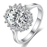 Fashion Flower CZ Wedding Rings for Women in Rhodium Plated 3 Colors AAA Cubic Zirconia Jewelry Girls Best Gifts
