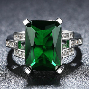Fashion Green Zircon Wedding Rings for Women Engagement/Party Jewelry Ladies Best Gifts