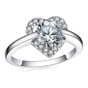 Stylish Heart Rings for Women Round Cubic Zircon Inlay