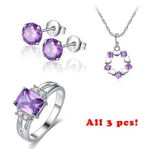 Fashion Jewelry Sets for Women Purple AAA+ Cubic Zircon Necklace + Earring + Ring Femme Bijoux