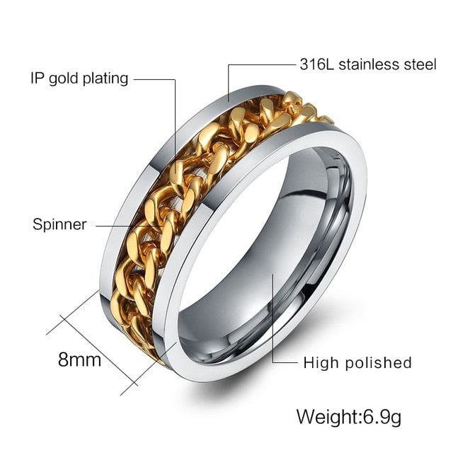 Fashion Men Ring The Punk Rock Accessories Stainless Steel Black Chain Spinner Rings For Men 3 Color USA Size 6-12