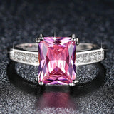Fashion Pink Princess cut AAA Cubic Zirconia Wedding Rings for Women Silver Color Jewelry Ladies Best Gifts