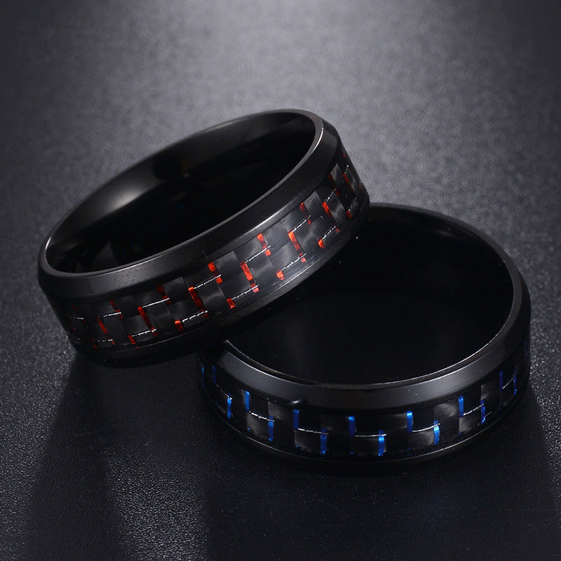 Fashion Red Ring Anel Masculino Jewelry Titanium Steel Black Carbon Fiber Rings for Men Whole Sales