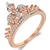 Fashion Rose Gold Color Micro Pave AAA+ Cubic Zirconia Crown Rings for Women 2019 New