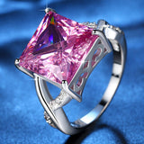Fashion Women Rhodium Plated Luxury Pink Princess Cubic Zirconia CZ Wedding Ring LR0080
