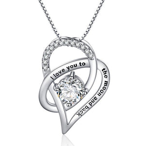 Fashion Zircon Stone I Love You to The Moon and Back Necklace Rhodium Plated Wedding Jewelry