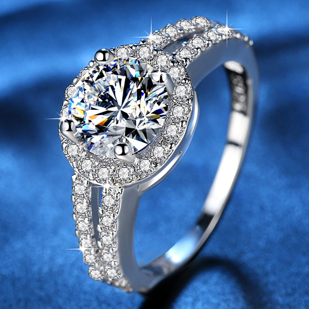Fashion zircon ring female 2.5 carat AAAA Cubic Zirconia ring jewelry gift for Girls Vintage Engagement Rings