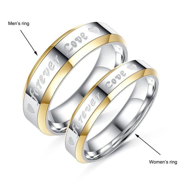 Forever Love Couple Rings for Lover High Quality Stainless Steel Rings Valentine's Day Gifts