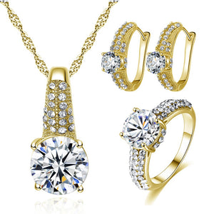 Gold/ Silver Color Jewelry Sets for Women Clear AAA Cubic Zirconia Bijoux Femme Ensemble Christmas Gifts