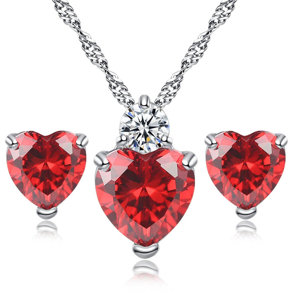 Heart CZ Jewelry Sets for Women Rhodium Plated Red AAA Cubic Zirconia Necklace & Earrings Bijoux Femme Free Shipping