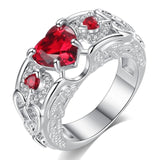 Heart Shaped Pink / Red Zircon Stone Rhodium Plated Women Angel Wing Ring