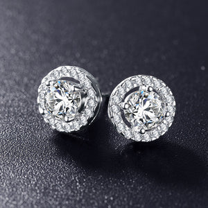 Hot Sale Romantic Jewelry Stud Earrings For Wedding Elegant Silver Color AAA Cubic Zirconia Stone Earrings Free Shipping