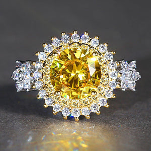 Luxurious Women Rhodium Plated Round Pink Yellow Big Crystal Ring Size 6-9
