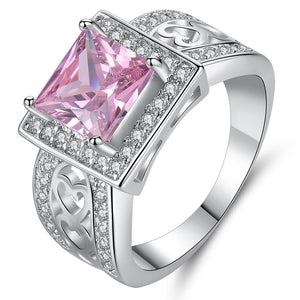 New Arrivals Square Pink Zircon Rings for Women Luxury White Gold Color Wedding Bands Jewelry Ladies Gifts