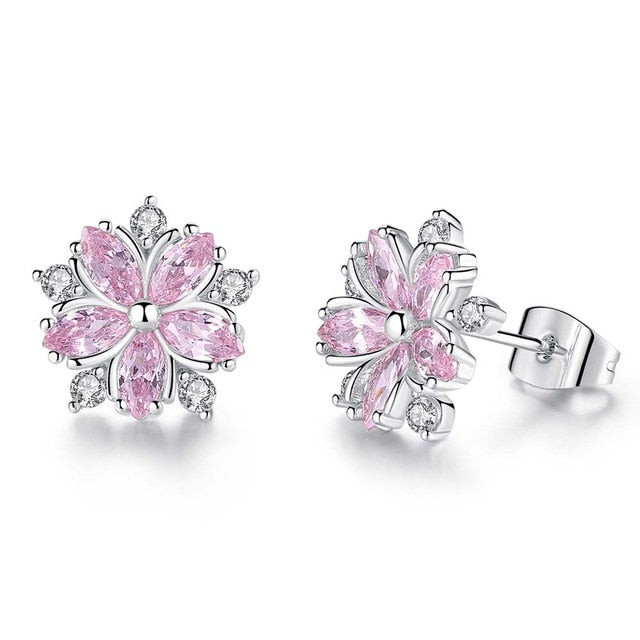Pink Sakura Cubic Zirconia Earrings for Women in Rhodium Plated Wedding Decoration Fashion Jewelry Free Shipping