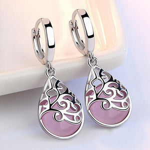 Pink / White Cat's Eye Stone Water Drop Earrings for Women White Gold Jewelry Ladies Gift Free Shipping